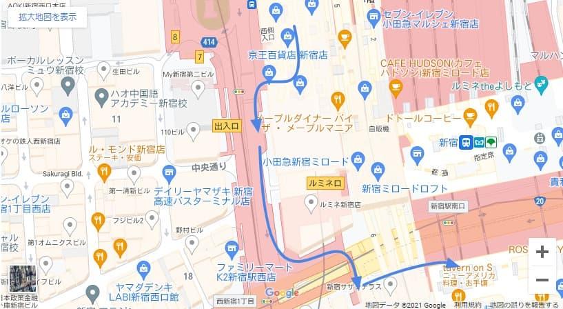 バスタ新宿へのアクセス 京王線からの行き方 ルートマップ