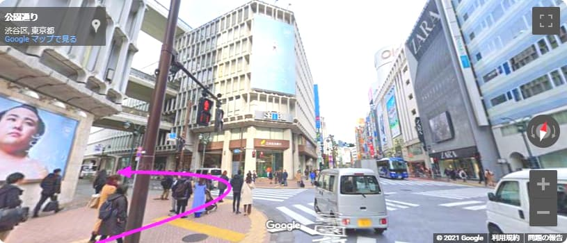 東急ハンズ 渋谷へのアクセス 三井住友銀行を左折