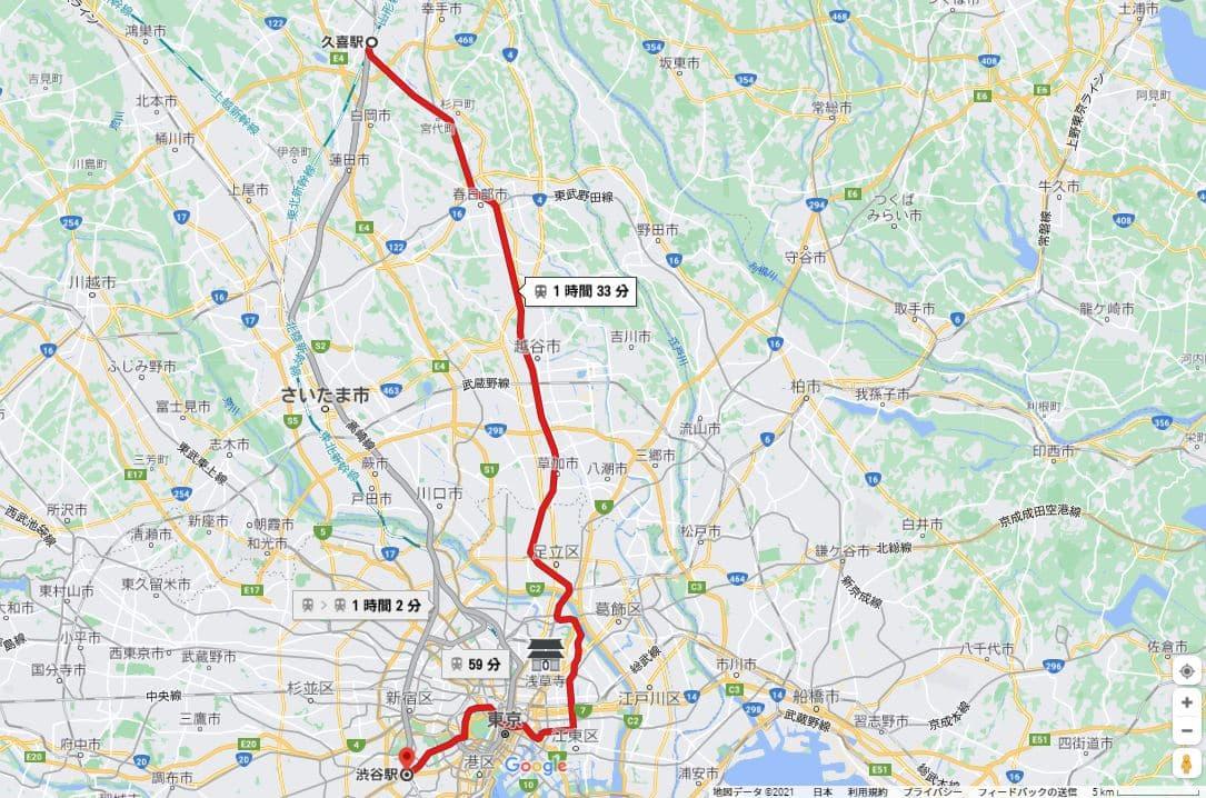 半蔵門線へ直通 乗り入れ「東武 伊勢崎線 スカイツリーライン」路線図 地図
